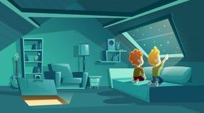 Διανυσματική σοφίτα τη νύχτα με τα παιδιά που προσέχουν τα αστέρια διανυσματική απεικόνιση