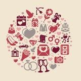 Διανυσματική στρογγυλή έννοια με τα γαμήλια εικονίδια Στοκ Εικόνες