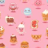 Διανυσματική συγκίνηση βιομηχανιών ζαχαρωδών προϊόντων γλυκών σοκολάτας χαρακτήρα κέικ κινούμενων σχεδίων cupcake και γλυκό επιδό απεικόνιση αποθεμάτων