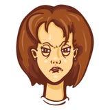 Διανυσματική συγκίνηση χαρακτήρα κινούμενων σχεδίων θηλυκή angry woman Διανυσματική απεικόνιση