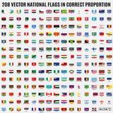 Διανυσματική συλλογή 208 εθνικών σημαιών του κόσμου στοκ εικόνες