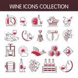 Διανυσματική συλλογή εικονιδίων κρασιού που τίθεται για τη βιομηχανία οινοποίησης ή παραγωγής οινοποιιών απεικόνιση αποθεμάτων