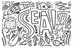Διανυσματική συλλογή ζωής θάλασσας Σύνολο διαφορετικών θαλασσίων χαρακτήρων διανυσματική απεικόνιση