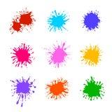 Διανυσματική συλλογή του ζωηρόχρωμου χρώματος Splatters που απομονώνονται, κενά πρότυπα βουρτσών διανυσματική απεικόνιση