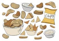 Διανυσματική συλλογή τσιπ πατατών που απομονώνεται στο άσπρο υπόβαθρο στοκ εικόνα
