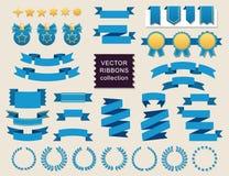 Διανυσματική συλλογή των διακοσμητικών στοιχείων σχεδίου - οι κορδέλλες, πλαίσια, αυτοκόλλητες ετικέττες, ονομάζουν απεικόνιση αποθεμάτων