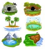 Διανυσματική συλλογή των τεχνών συνδετήρων φύσης που επεξηγούν τη ζωικούς σπηλιά, το κρησφύγετο, το νησί, τη λίμνη, τη λίμνη και  διανυσματική απεικόνιση