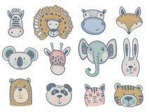 Διανυσματική συλλογή των χαριτωμένων ζωικών κεφαλιών για το σχέδιο μωρών και παιδιών διανυσματική απεικόνιση