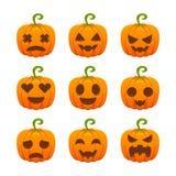 Διανυσματική συλλογή Emoji χαρακτήρα κολοκύθας αποκριών στοκ εικόνες