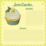 Διανυσματική συνταγή Λεμόνι cupcake Στοκ φωτογραφίες με δικαίωμα ελεύθερης χρήσης