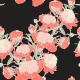 Διανυσματική συρμένη χέρι απεικόνιση σκίτσων του πορτοκαλιού peony άνευ ραφής σχεδίου λουλουδιών διανυσματική απεικόνιση