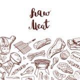 Διανυσματική συρμένη χέρι απεικόνιση υποβάθρου στοιχείων κρέατος με την εγγραφή απεικόνιση αποθεμάτων