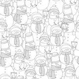 Διανυσματική συρμένη χέρι απεικόνιση χιονανθρώπων για το ενήλικο χρωματίζοντας βιβλίο Ελεύθερο σκίτσο για την ενήλικη σελίδα βιβλ απεικόνιση αποθεμάτων