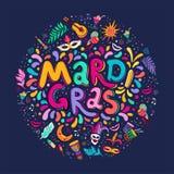 Διανυσματική συρμένη χέρι επιγραφή κειμένων εγγραφής της Mardi Gras γύρω από τη μορφή Ζωηρόχρωμα πυροτεχνήματα κομφετί στοιχείων  ελεύθερη απεικόνιση δικαιώματος