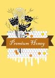 Διανυσματική συρμένη χέρι ετικέτα μελιού με τη δέσμη χτενών και λουλουδιών Το μεγάλο έμβλημα, αφίσα, ιπτάμενο για την επιχείρηση  Στοκ εικόνες με δικαίωμα ελεύθερης χρήσης