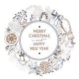 Διανυσματική συρμένη χέρι ευχετήρια κάρτα Χαρούμενα Χριστούγεννα και καλή χρονιά Χειμερινό καρύκευμα Χαραγμένη τρύγος τέχνη Στοκ φωτογραφία με δικαίωμα ελεύθερης χρήσης