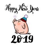 Διανυσματική συρμένη χέρι doodle απεικόνιση του νέου χειμερινού χοιριδίου έτους με snowflake και το 2019 διανυσματική απεικόνιση