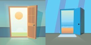 Διανυσματική συλλογή ανοιχτών πορτών σύνολο χαριτωμένων πορτών Τα όνειρα πραγματοποιούνται Έξοδος και καλοκαίρι κινούμενων σχεδίω ελεύθερη απεικόνιση δικαιώματος