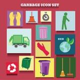 Διανυσματική συλλογή εικονιδίων των απορριμάτων και του θέματος καθαρισμού Στοκ Εικόνες