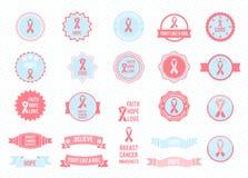 Διανυσματική συλλογή διακριτικών στοιχεία τέσσερα σχεδίου ανασκόπησης snowflakes λευκό Συνειδητοποίηση καρκίνου του μαστού Στοκ Φωτογραφία