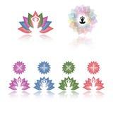 Διανυσματική συλλογή λογότυπων γιόγκας Lotus διανυσματική απεικόνιση
