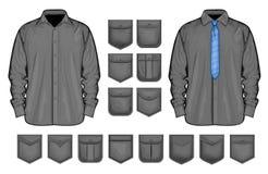 Διανυσματική συλλογή του πουκάμισου και των τσεπών ελεύθερη απεικόνιση δικαιώματος