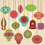 Διανυσματική συλλογή των αναδρομικών διακοσμήσεων Χριστουγέννων διανυσματική απεικόνιση