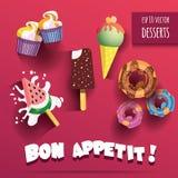 Διανυσματική συλλογή των απομονωμένων παγωτών και των επιδορπίων με τον τίτλο bon appetit Στοκ Φωτογραφίες