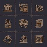 Διανυσματική συλλογή των εικονιδίων περιλήψεων, χρηματοδότηση, κατάθεση ασφάλιστρο Στοκ Εικόνα