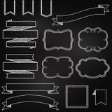 Διανυσματική συλλογή των εμβλημάτων ύφους πινάκων κιμωλίας διανυσματική απεικόνιση