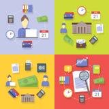 Διανυσματική συλλογή των επίπεδων και ζωηρόχρωμων εννοιών επιχειρήσεων και χρηματοδότησης Ελεύθερη απεικόνιση δικαιώματος