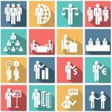 Διανυσματική συλλογή των ζωηρόχρωμων επίπεδων εικονιδίων επιχειρήσεων και χρηματοδότησης Στοκ Εικόνες