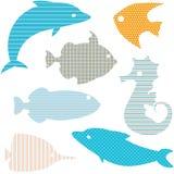 Σύνολο σκιαγραφιών ψαριών με τα απλά σχέδια Στοκ Φωτογραφίες