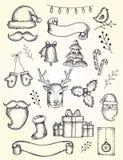 Διανυσματική συλλογή των στοιχείων Χριστουγέννων και του νέου έτους Στοκ εικόνα με δικαίωμα ελεύθερης χρήσης