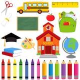 Διανυσματική συλλογή των σχολικών προμηθειών και των εικόνων ελεύθερη απεικόνιση δικαιώματος