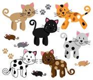 Διανυσματική συλλογή των χαριτωμένων και εύθυμων γατών Στοκ Εικόνες