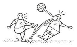 Διανυσματική σφαίρα λακτίσματος ατόμων ποδοσφαιριστών κινούμενων σχεδίων και χτύπημα άλλης ελεύθερη απεικόνιση δικαιώματος
