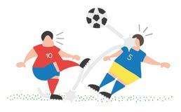 Διανυσματική σφαίρα λακτίσματος ατόμων ποδοσφαιριστών κινούμενων σχεδίων και χτύπημα άλλης απεικόνιση αποθεμάτων