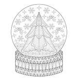 Διανυσματική σφαίρα χιονιού Zentangle με το δέντρο έλατου Χριστουγέννων, snowflakes διανυσματική απεικόνιση