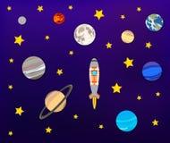 Διανυσματική τέχνη εγγράφου: Διαστημική περιπέτεια, πλανήτες, φεγγάρι, αστέρια και πύραυλος απεικόνιση αποθεμάτων
