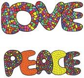 Διανυσματική τέχνη με τις λέξεις αγάπης και ειρήνης Στοκ Εικόνες