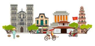 Διανυσματική τέχνη οριζόντων πόλεων του Βιετνάμ Αφηρημένη οδός με την παγόδα και την εκκλησία, παραδοσιακό σπίτι ελεύθερη απεικόνιση δικαιώματος