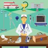 Διανυσματική τέχνη συνδετήρων Εκπαίδευση Infographics Επάγγελμα του γιατρού ελεύθερη απεικόνιση δικαιώματος