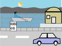 Διανυσματική τέχνη του αυτοκινήτου που τρέχει στην εθνική οδό διανυσματική απεικόνιση