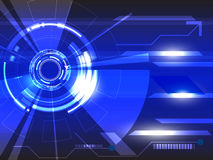 Διανυσματική τεχνολογία κύκλων στο μπλε υπόβαθρο Στοκ εικόνες με δικαίωμα ελεύθερης χρήσης