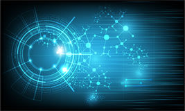Διανυσματική τεχνολογία τεχνολογίας και επιστήμης στο μπλε υπόβαθρο χρώματος Στοκ εικόνα με δικαίωμα ελεύθερης χρήσης