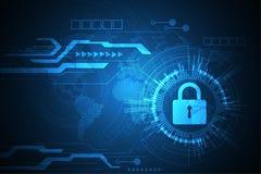 Διανυσματική τεχνολογική ασφάλεια του μελλοντικού κόσμου Στοκ εικόνες με δικαίωμα ελεύθερης χρήσης