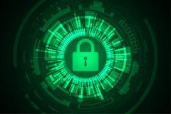 Διανυσματική τεχνολογική ασφάλεια του μελλοντικού κόσμου Στοκ Εικόνα