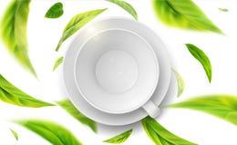 Διανυσματική τρισδιάστατη απεικόνιση με τα πράσινα φύλλα τσαγιού στην κίνηση διανυσματική απεικόνιση
