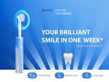 Διανυσματική τρισδιάστατη ρεαλιστική οδοντόβουρτσα στην αφίσα αγγελιών διανυσματική απεικόνιση